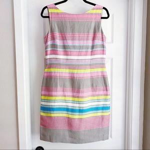 Tahari Linen Striped Sheath Dress Pink Tan Blue 6